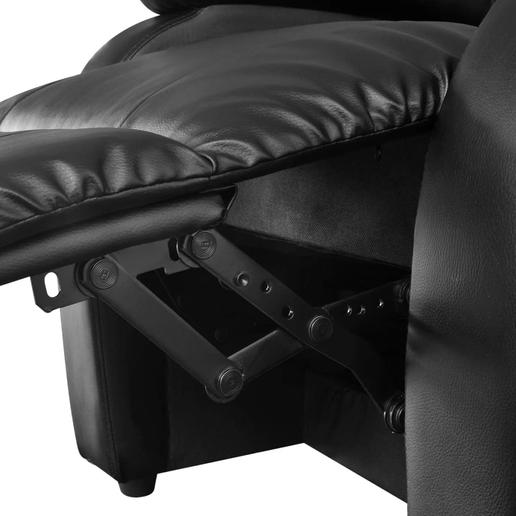 electric massage recliner chair artificial leather black vid