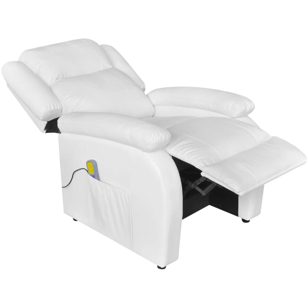 Electric Massage Recliner Chair Artificial Leather White