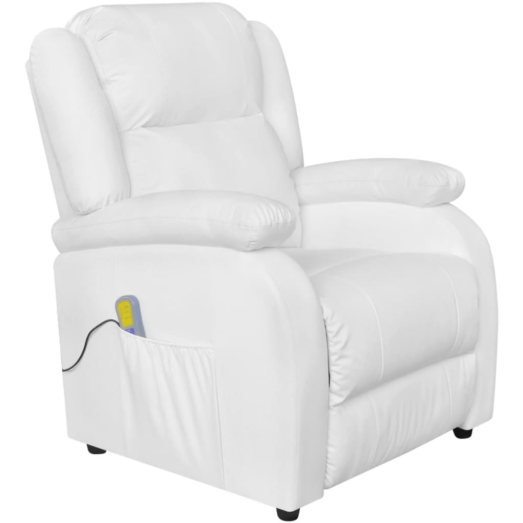 Electric massage recliner chair artificial leather white - Fauteuil relax blanc ...