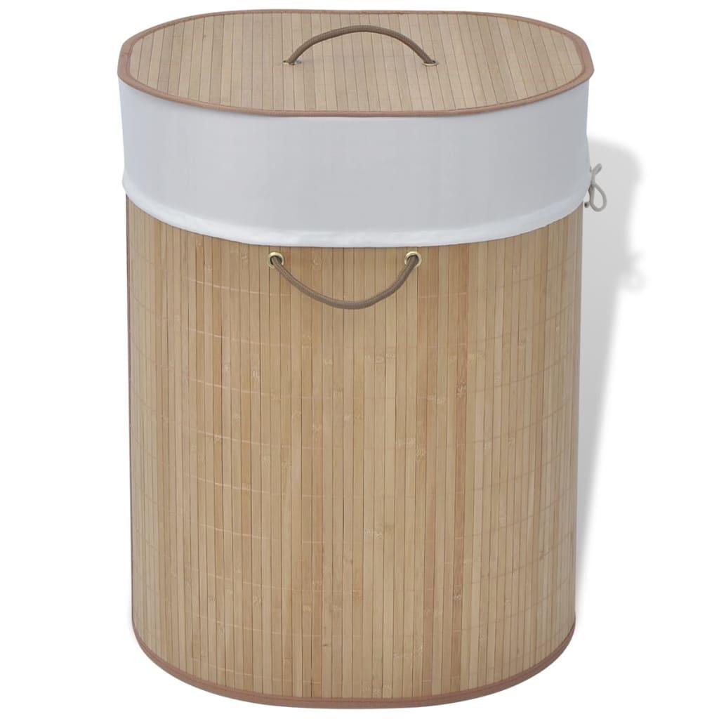 vidaXL bambusz ovális szennyes kosár természetes szín