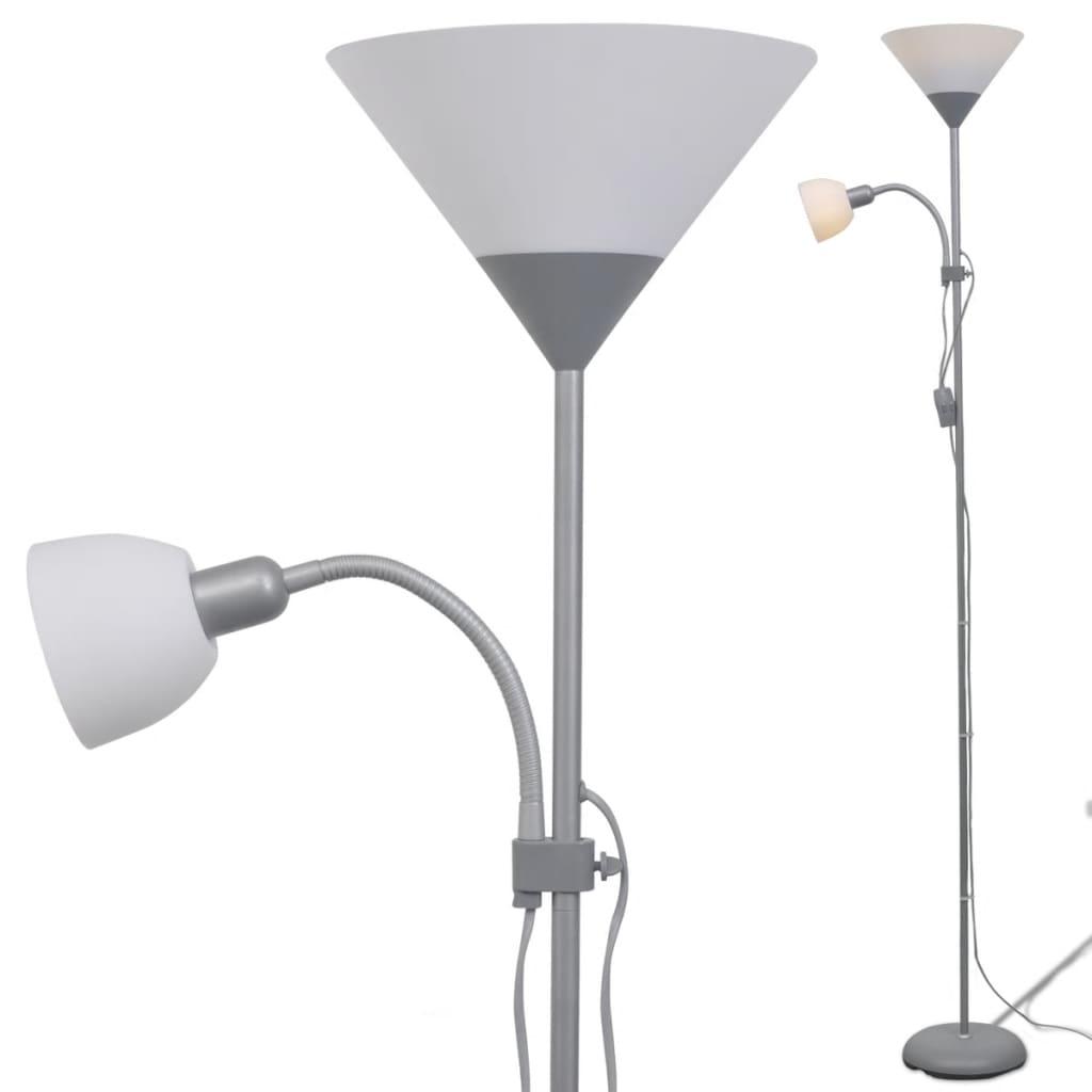 vidaXL-Lampada-da-Pavimento-a-Stelo-Grigia-Moderna-Elegante-Ufficio-Piantana