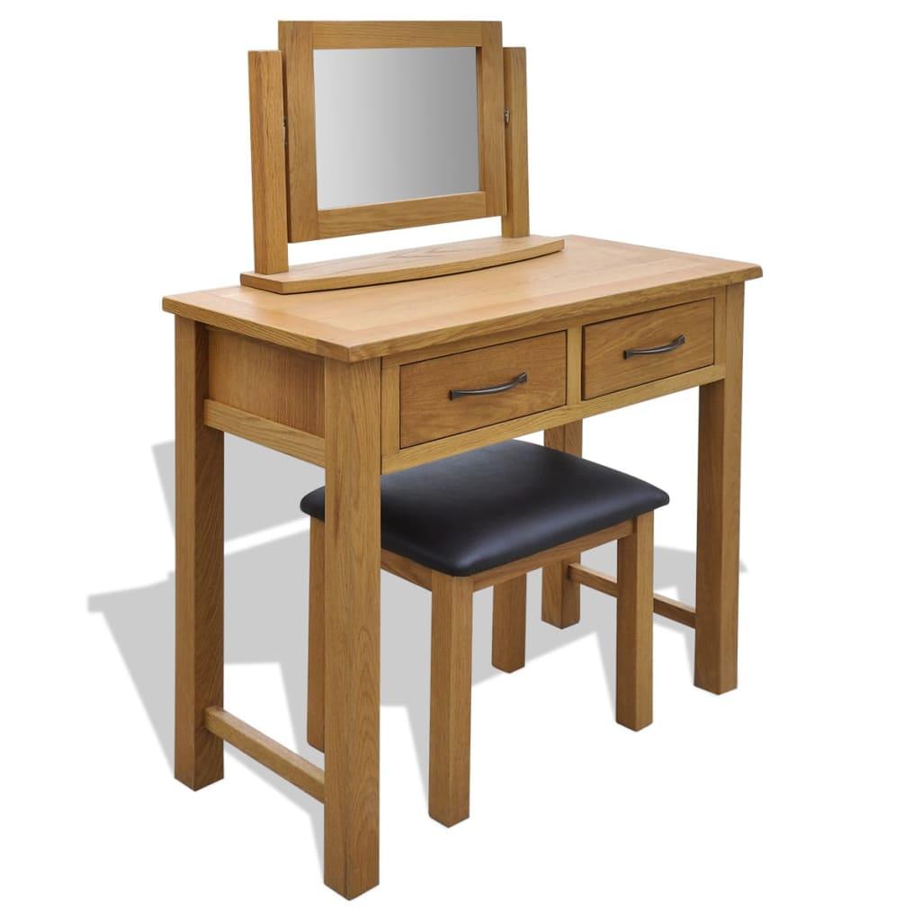 vidaXL tölgyfa fésülködőasztal zsámollyal