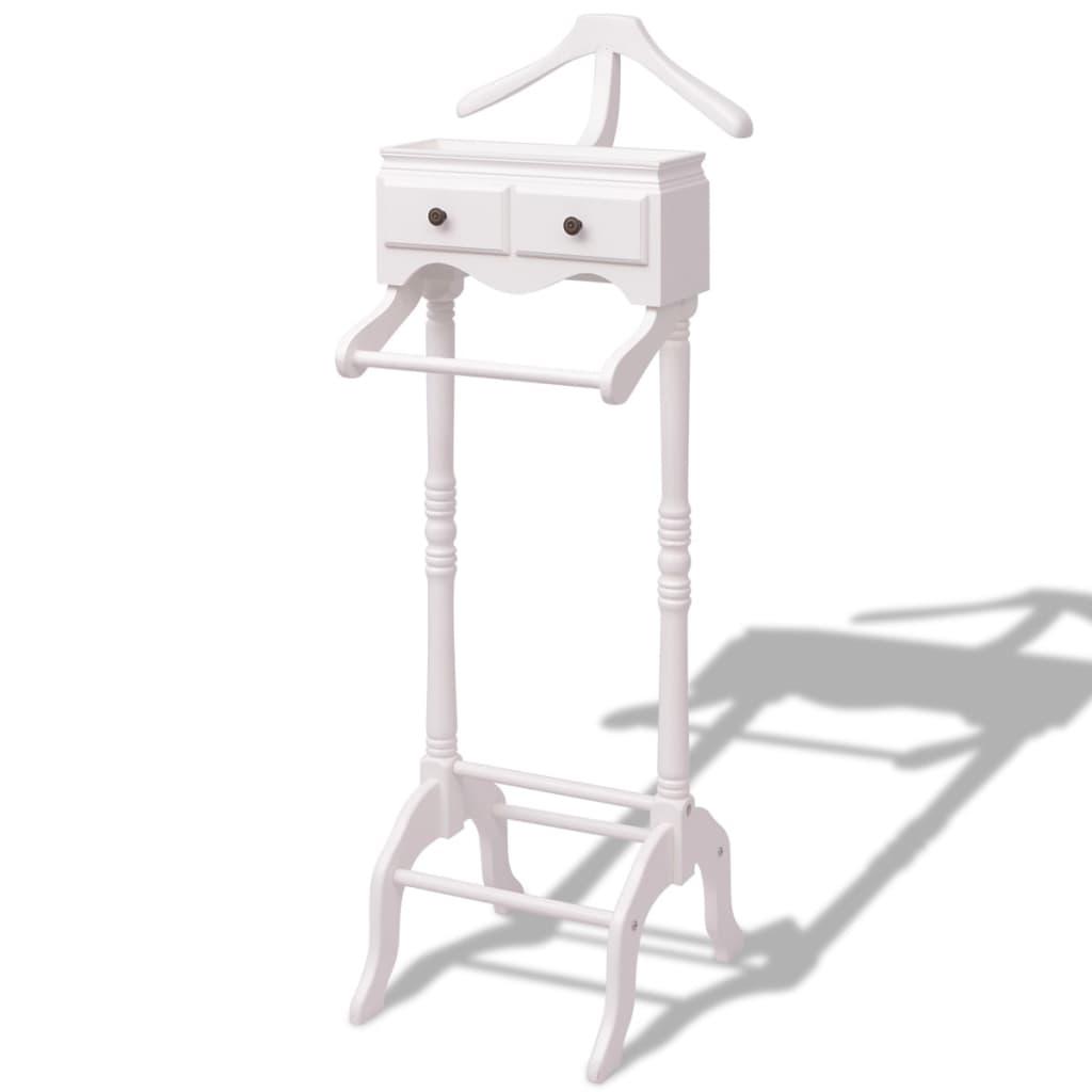vidaXL Fehér fa ruhatartó állvány szekrénnyel