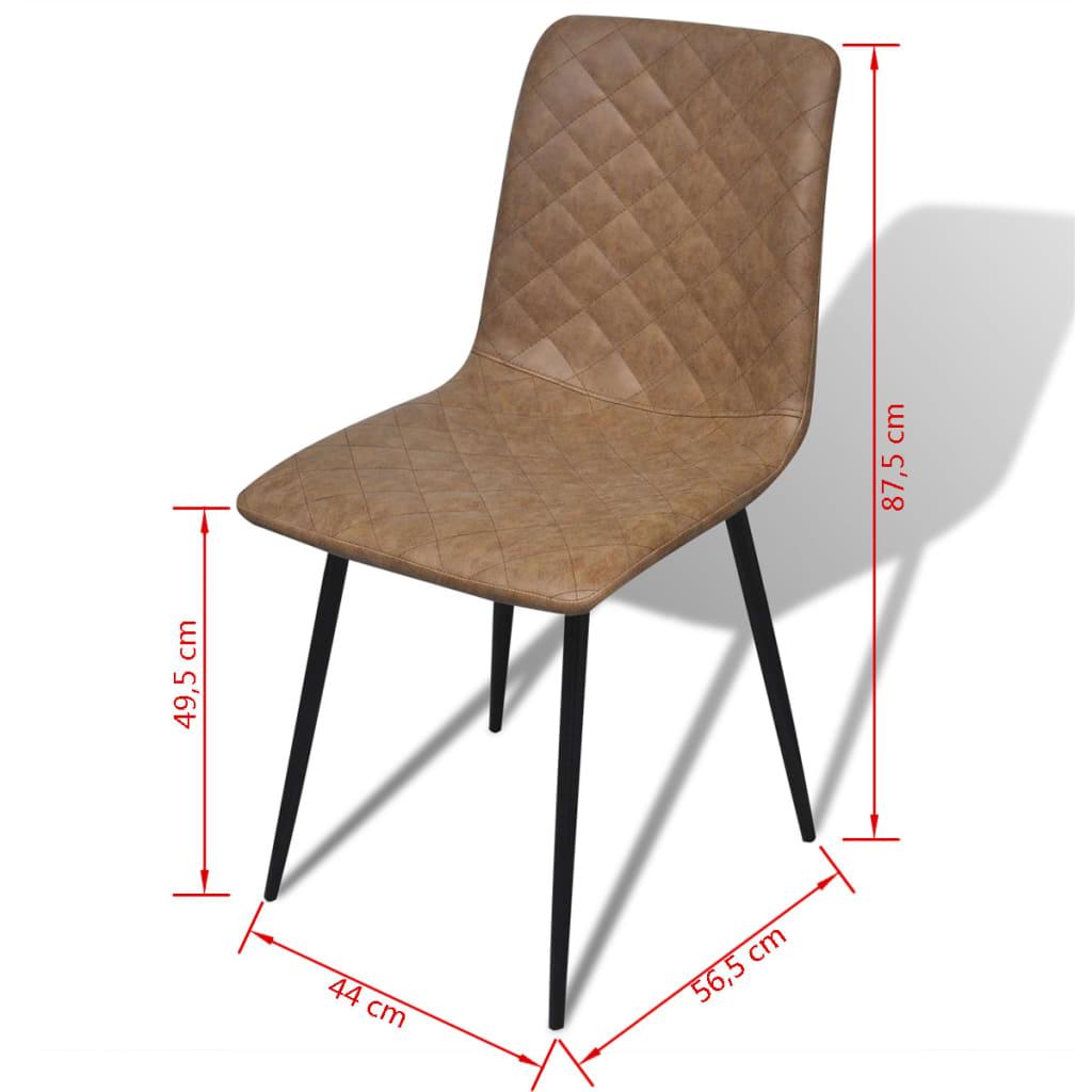 Vidaxl sillas de comedor 4 piezas de piel artificial for Sillas de piel para comedor