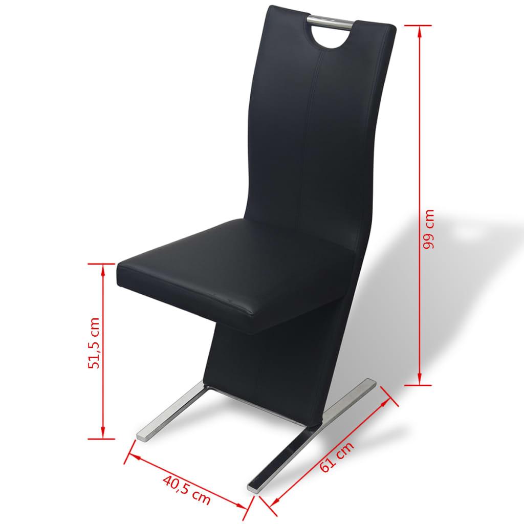 Vidaxl sillas de comedor 2 piezas de piel artificial negro for Sillas de piel para comedor