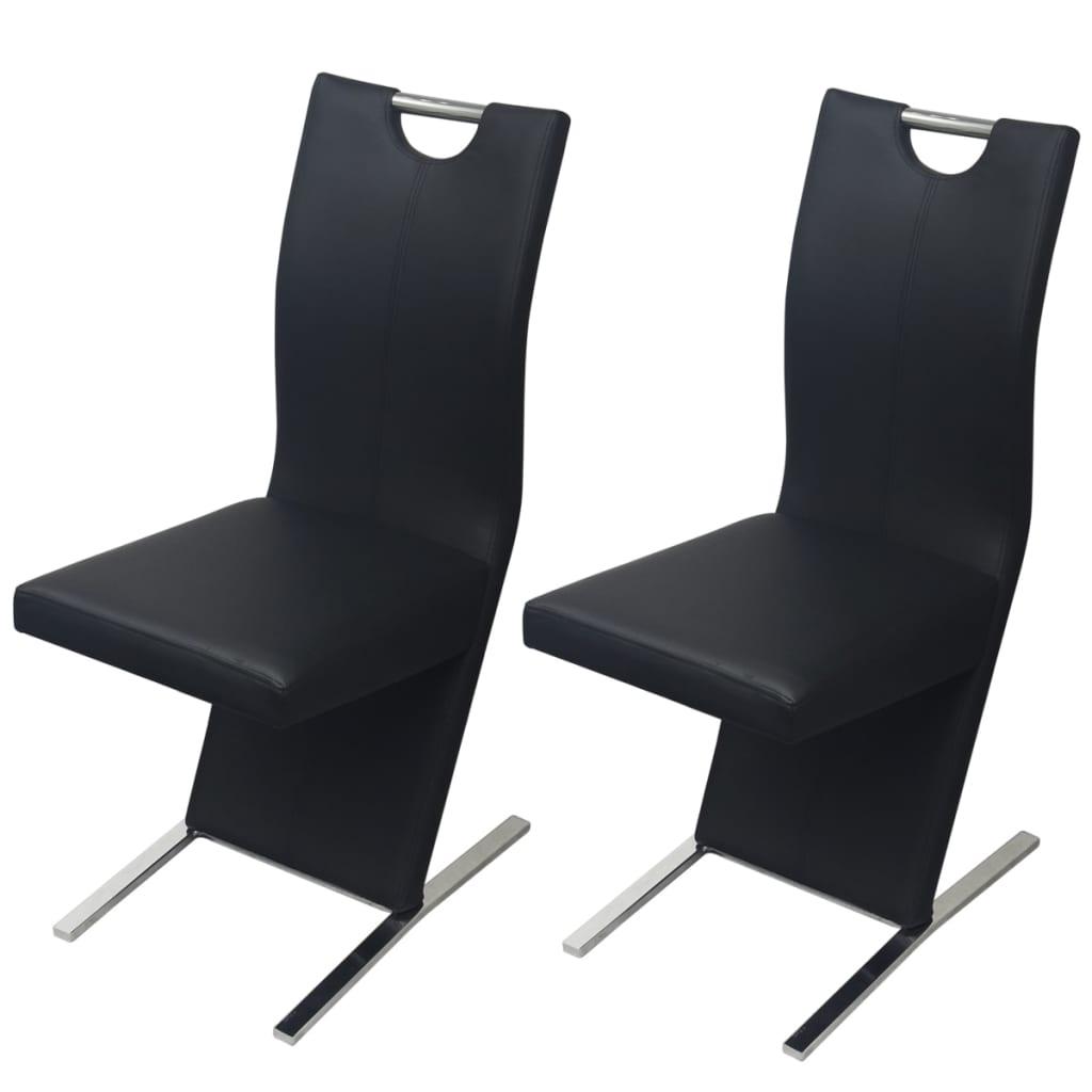 Vidaxl sillas de comedor 2 piezas de piel artificial negro for Sillas de comedor de piel
