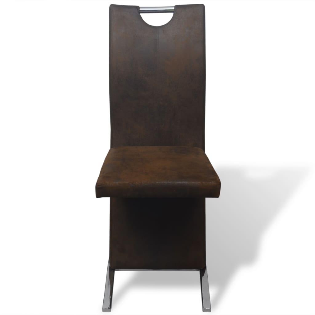 Vidaxl sillas de comedor 2 piezas de tela marr n for Sillas comedor marron
