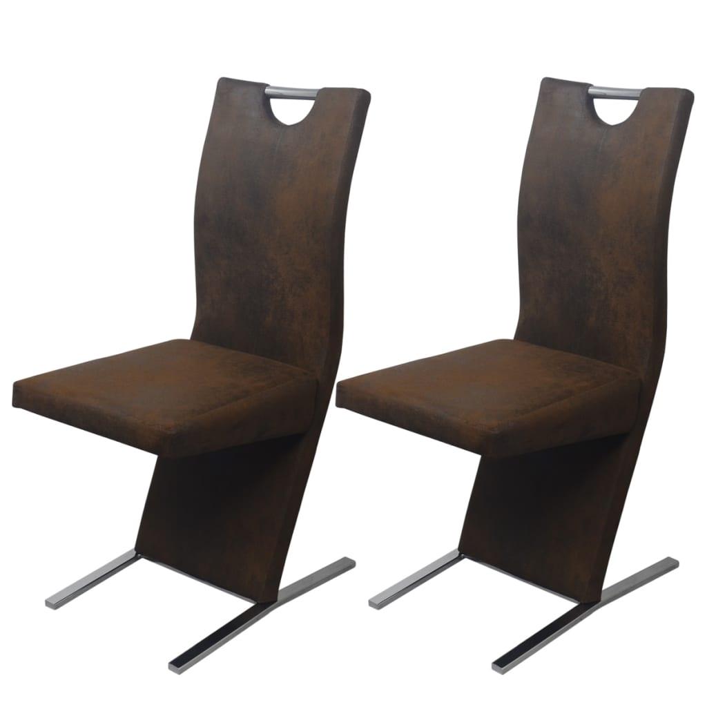 vidaXL Krzesła do jadalni 2 szt obite tkaniną, brązowe