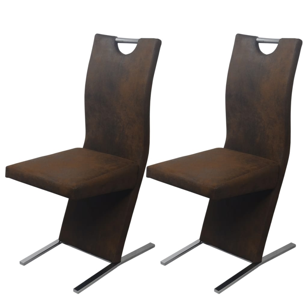 Vidax sedie per sala da pranzo 2 pezzi in stoffa marrone for Sedie per pranzo