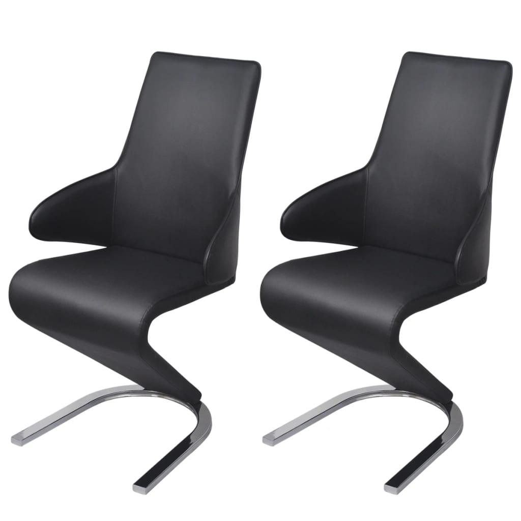 vidaXL Krzesła do jadalni wspornikowe obite ekoskórą 2 szt, czarne