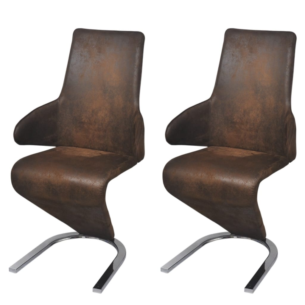 vidaxl freischwinger esszimmerst hle 2 stk stoff braun. Black Bedroom Furniture Sets. Home Design Ideas