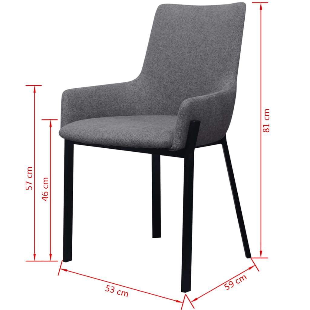 Vidaxl sillas de comedor 2 piezas de tela gris claro for Sillas de comedor grises