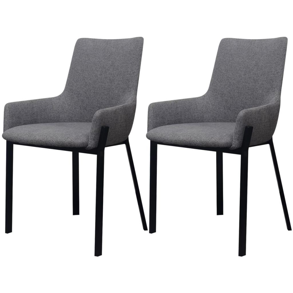 Vidaxl sillas de comedor 2 piezas de tela gris claro for Sillas en gris
