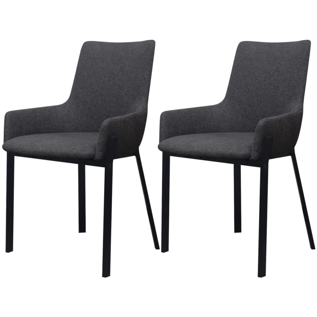 Vidaxl sillas de comedor 2 piezas de tela gris oscuro for Sillas de tela comedor