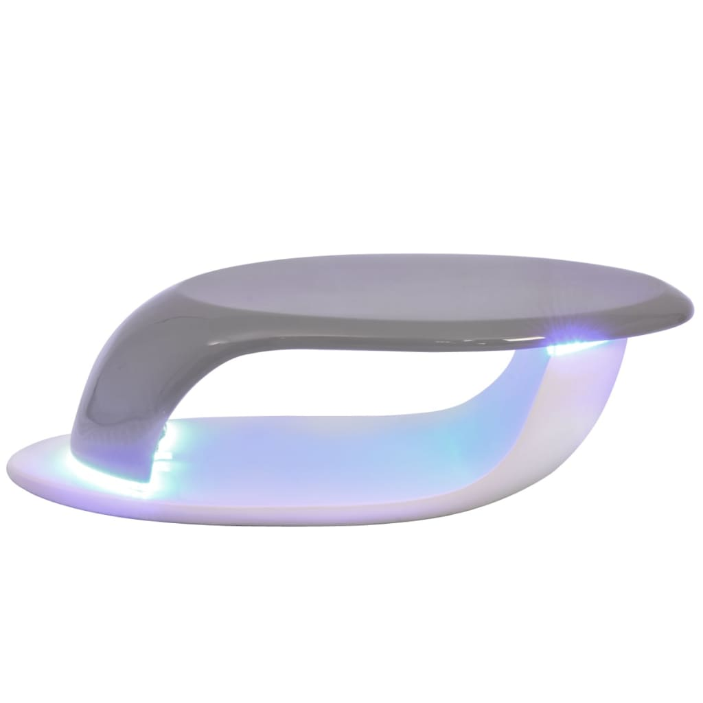 vidaxl couchtisch mit led leuchtstreifen fiberglas hochglanz wei und grau g nstig kaufen. Black Bedroom Furniture Sets. Home Design Ideas