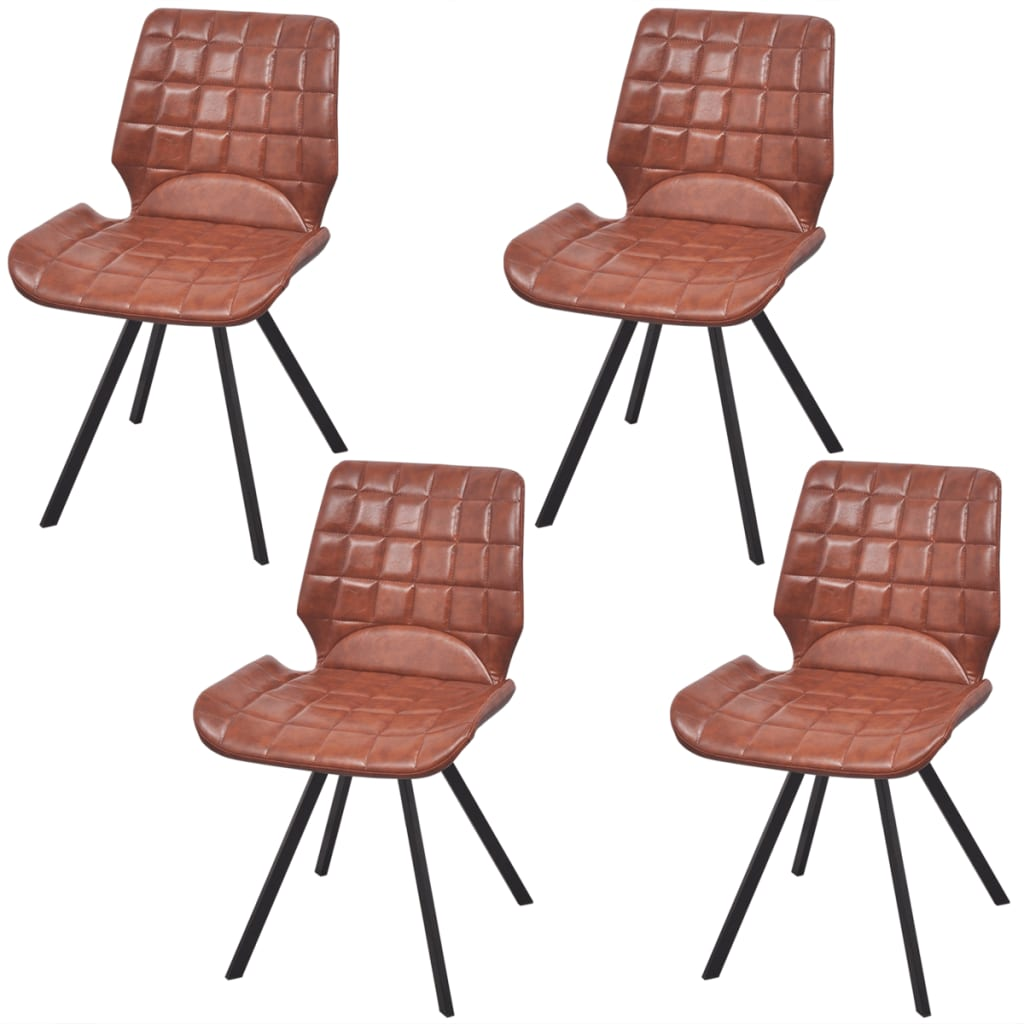 acheter vidaxl chaises de salle manger en cuir artificiel 4 pcs marron pas cher. Black Bedroom Furniture Sets. Home Design Ideas