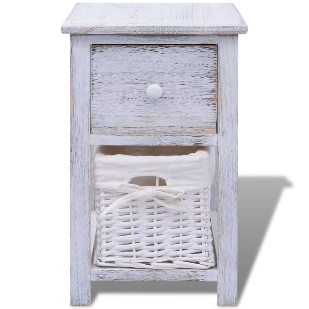 vidaxl shabby chic nachttisch schr nkchen holz wei. Black Bedroom Furniture Sets. Home Design Ideas