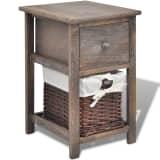 vidaXL Shabby Chic Bedside Cabinet Wood Brown