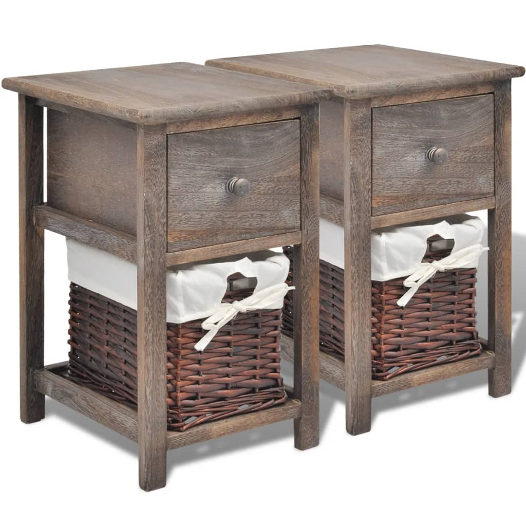 vidaxl shabby chic nachttische schr nkchen 2 stck holz braun g nstig kaufen. Black Bedroom Furniture Sets. Home Design Ideas