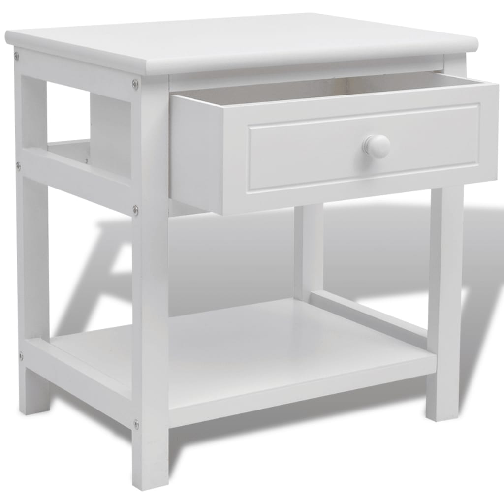 la boutique en ligne vidaxl table de chevet bois blanc. Black Bedroom Furniture Sets. Home Design Ideas
