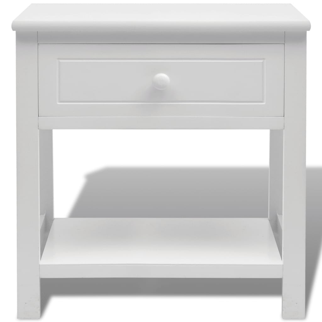 acheter vidaxl table de chevet bois blanc pas cher. Black Bedroom Furniture Sets. Home Design Ideas