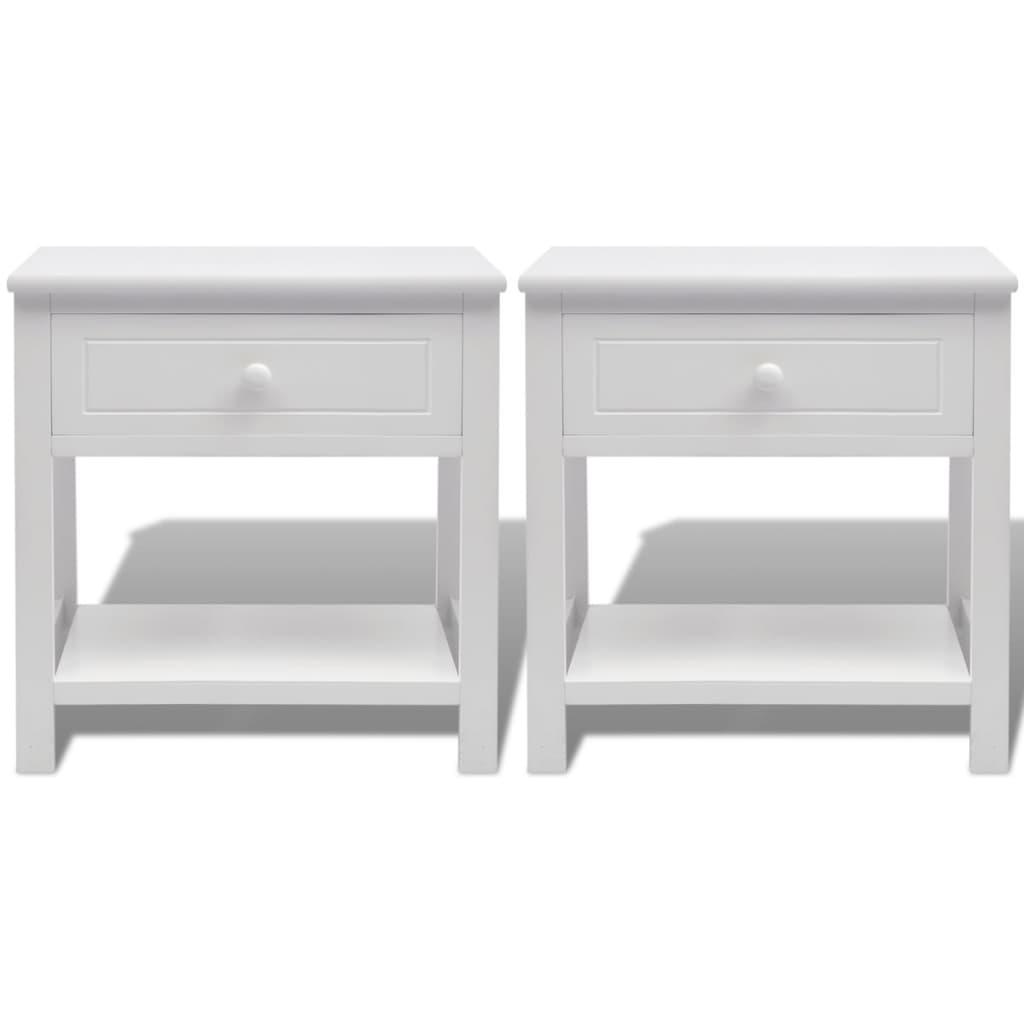 acheter vidaxl table de chevet 2 pcs bois blanc pas cher. Black Bedroom Furniture Sets. Home Design Ideas