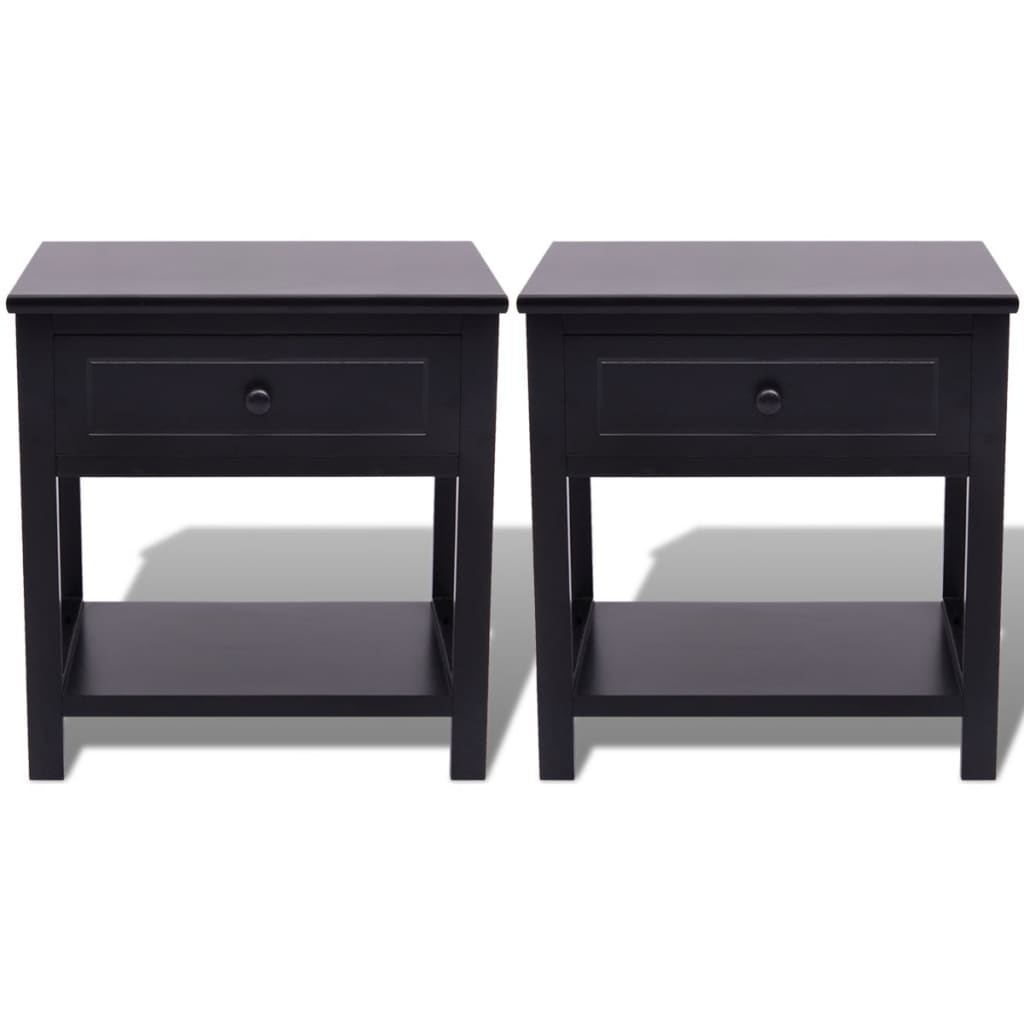 vidaXL-Table-de-chevet-2-pcs-Bois-Noir-Support-de-telephone-armoire-laterale