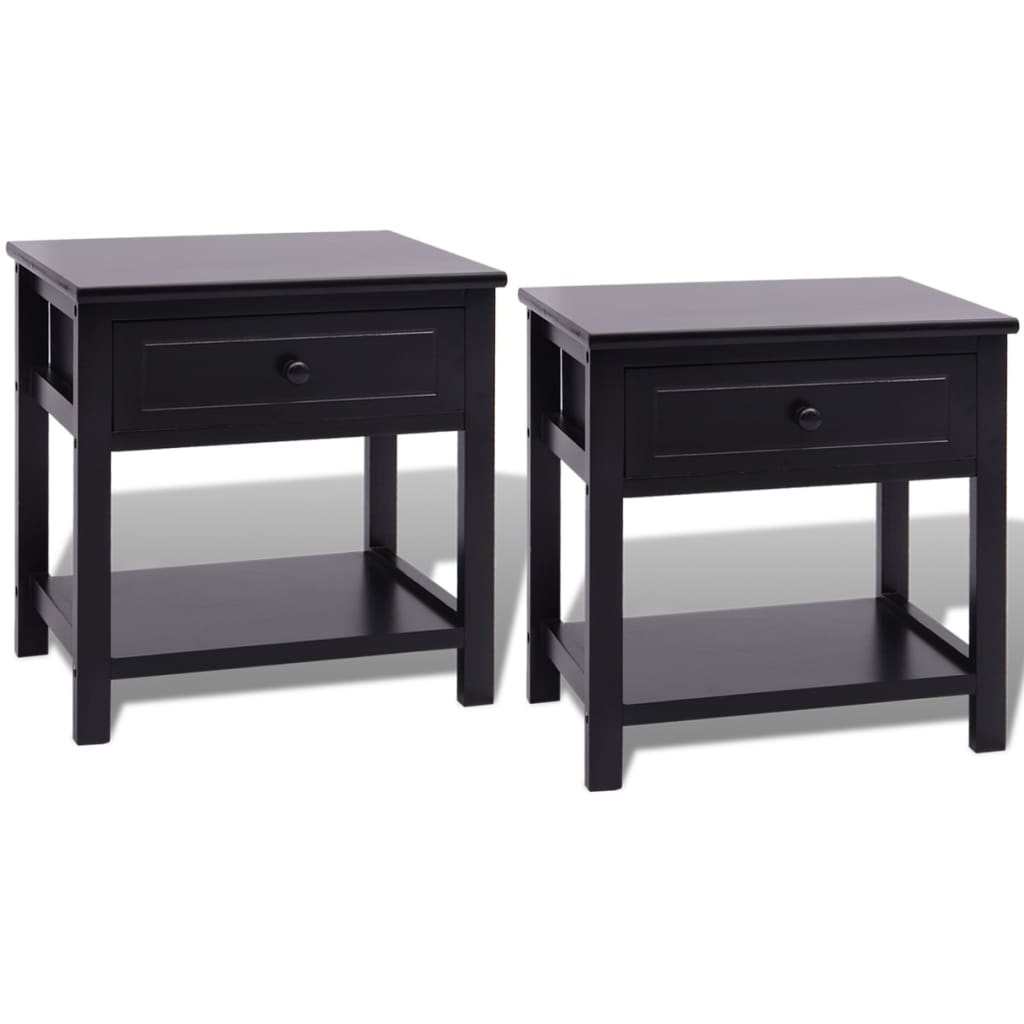 acheter vidaxl table de chevet 2 pcs bois noir pas cher. Black Bedroom Furniture Sets. Home Design Ideas