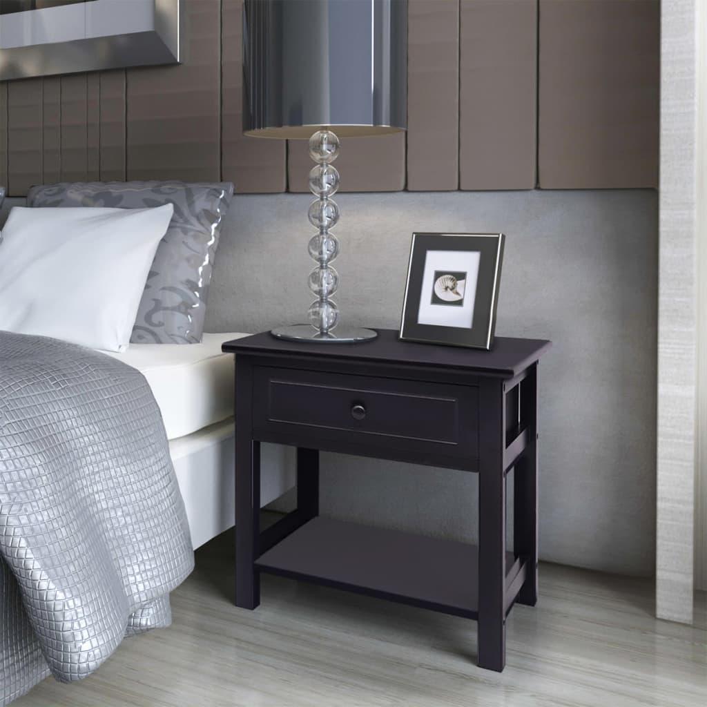 vidaXL-Table-de-chevet-2-pcs-Bois-Noir-Support-de-telephone-armoire-laterale