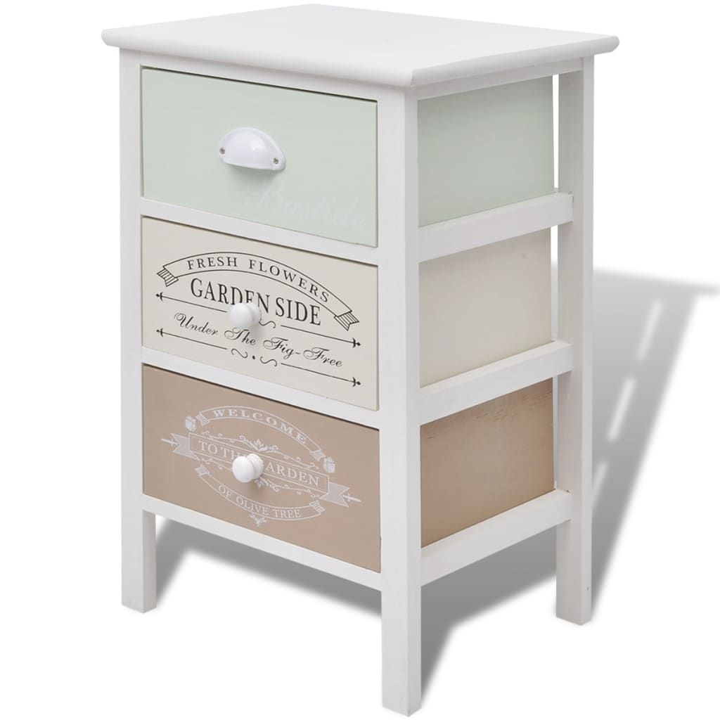 vidaxl shabby chic french storage cabinet 3 drawers wood. Black Bedroom Furniture Sets. Home Design Ideas