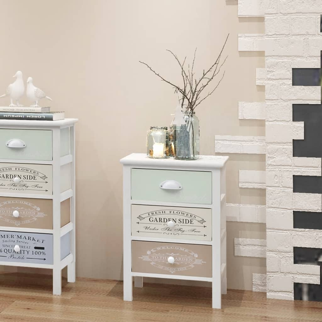 der vidaxl shabby chic landhaus schr nkchen 3 schubladen holz online shop. Black Bedroom Furniture Sets. Home Design Ideas