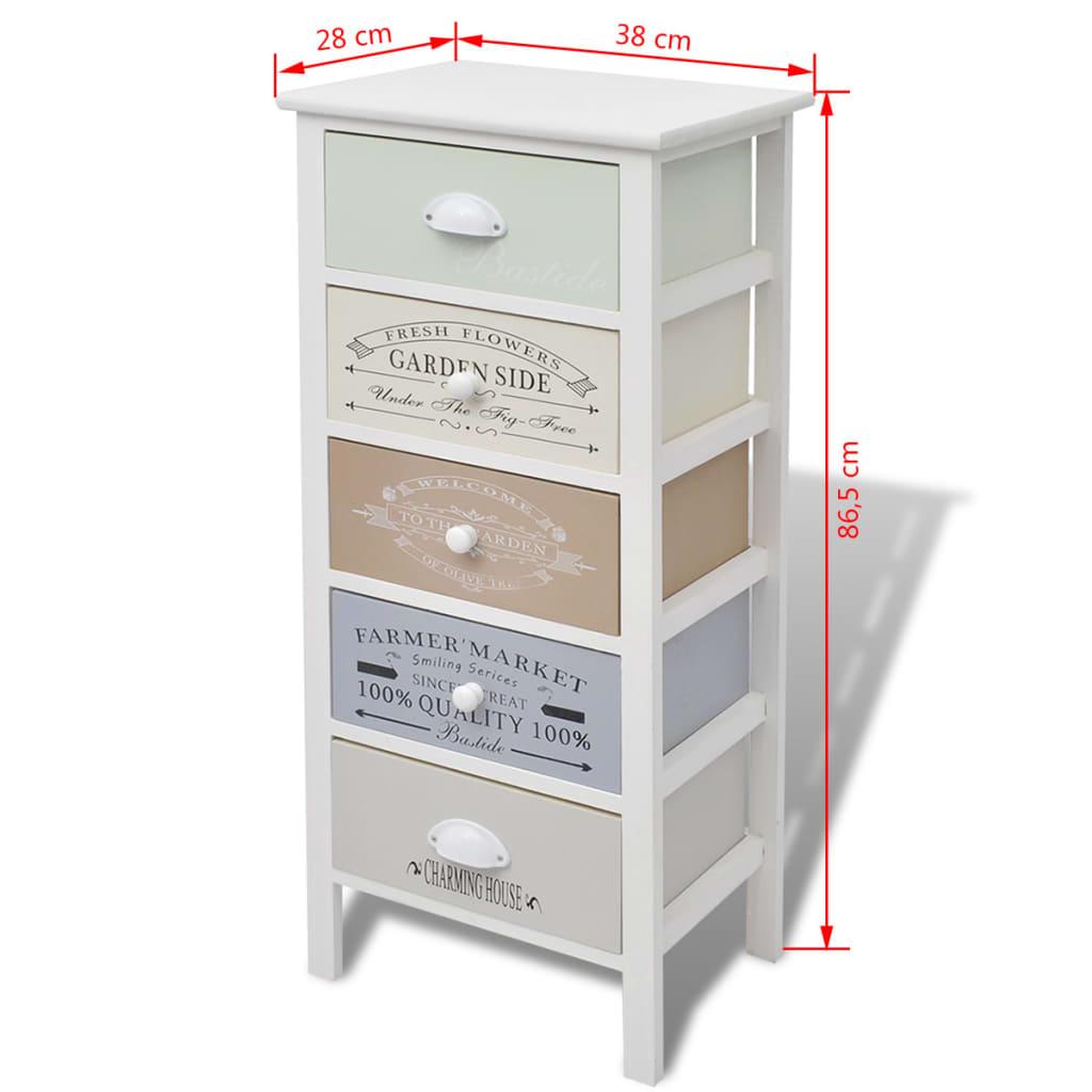 Acheter vidaxl armoire de rangement 5 tiroirs bois pas for Armoire de rangement a tiroir
