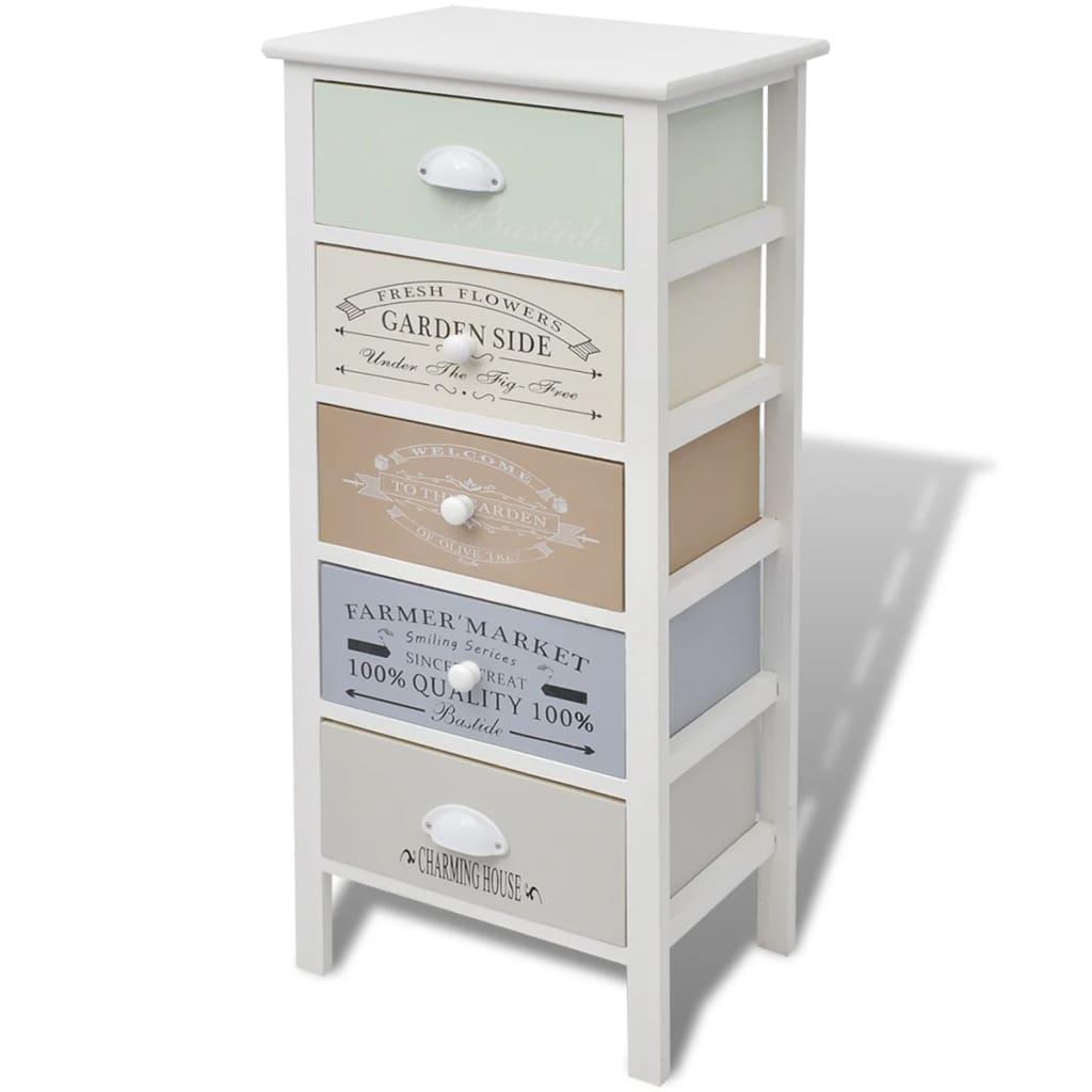 vidaxl armoire de rangement 5 tiroirs bois armoire latérale table de