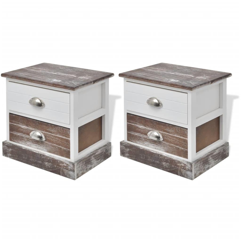 acheter vidaxl table de chevet 2 pcs marron et blanc pas cher. Black Bedroom Furniture Sets. Home Design Ideas