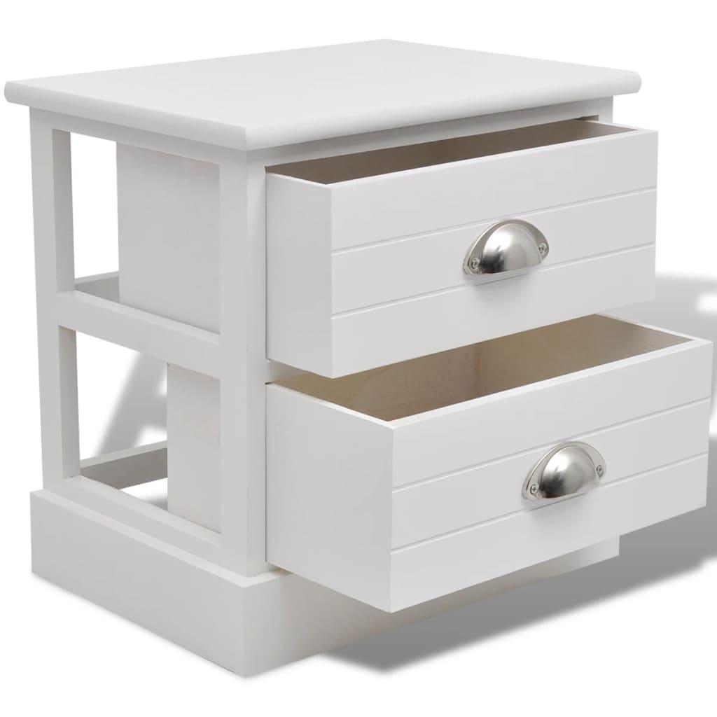 vidaXL-Table-de-chevet-2-pcs-Blanc-Support-de-telephone-armoire-laterale