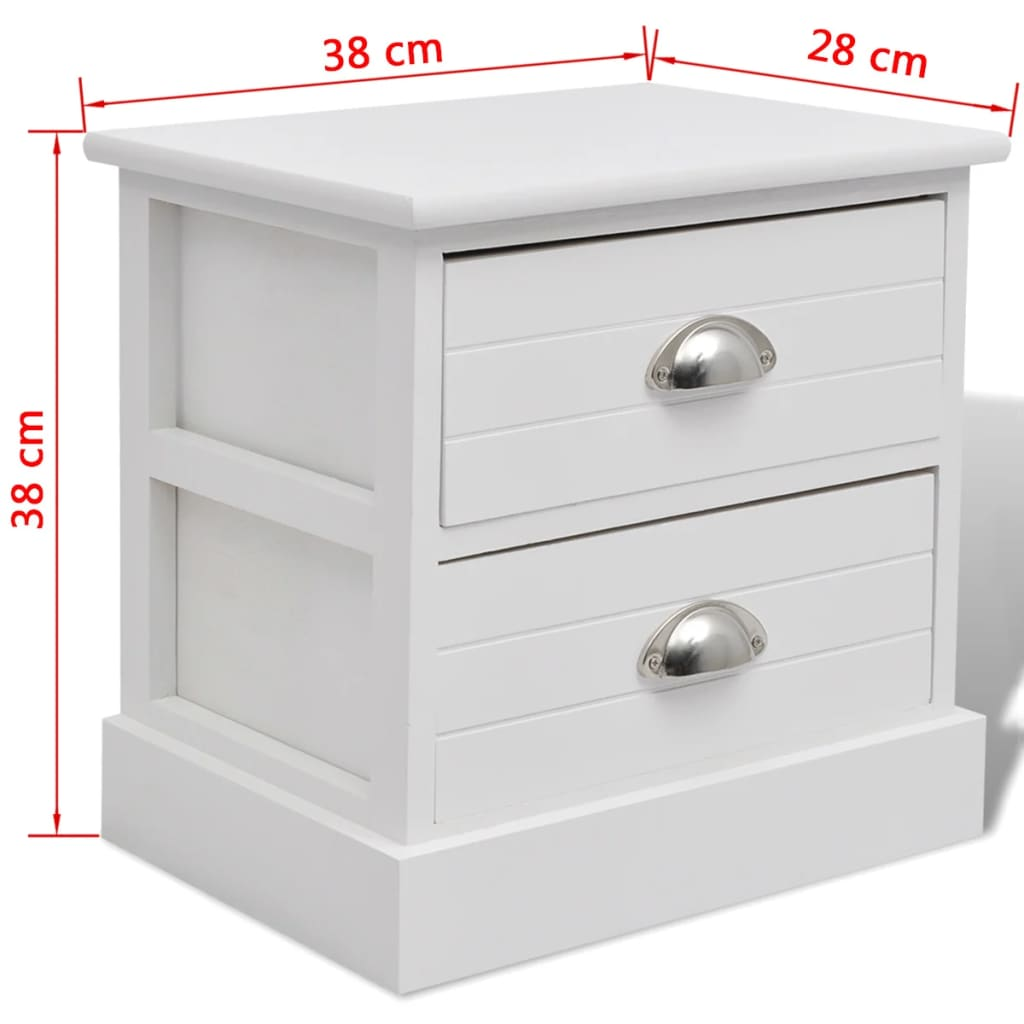 Vidaxl Table De Chevet 2 Pcs Blanc Support De Telephone Armoire