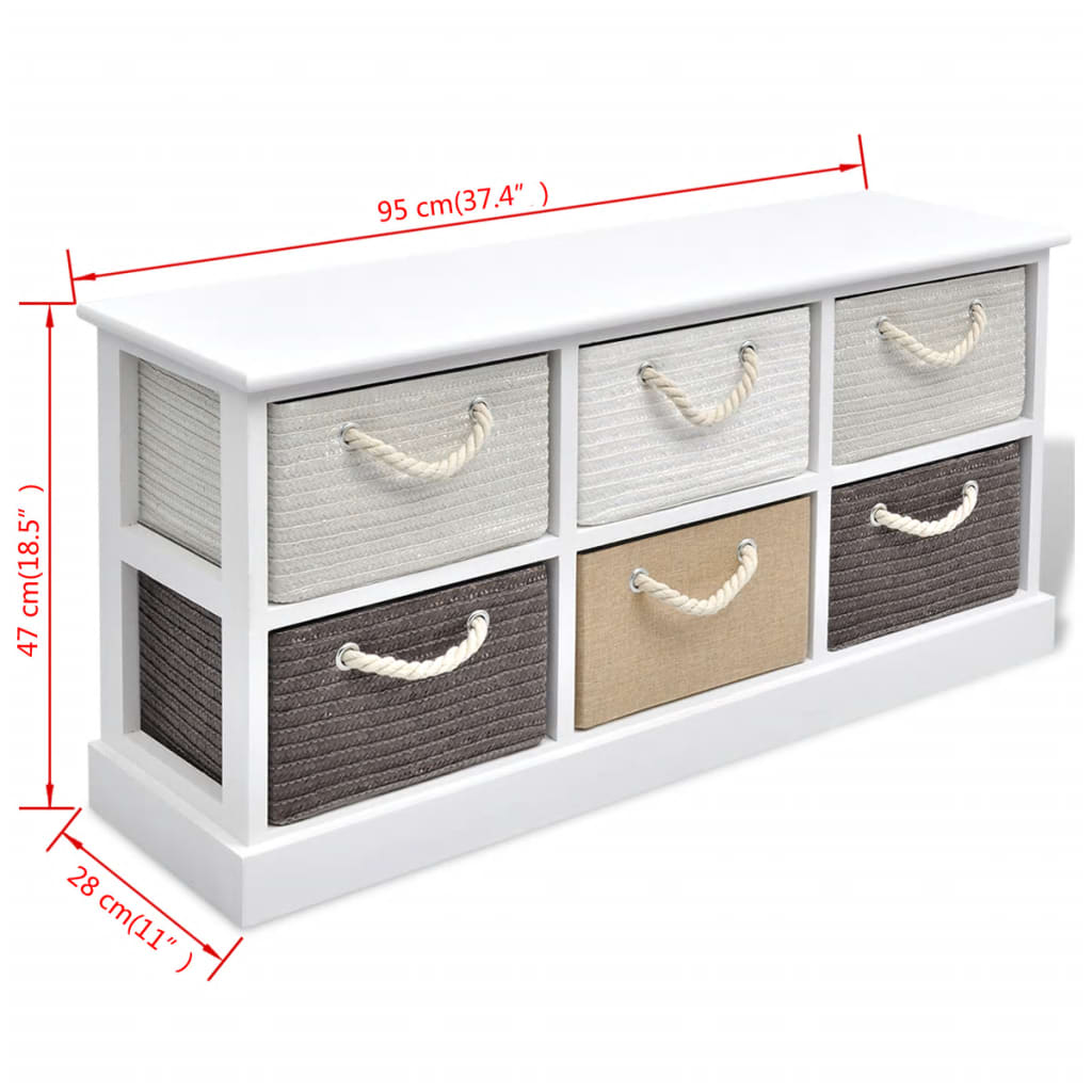 la boutique en ligne vidaxl banc de rangement 6 tiroirs bois. Black Bedroom Furniture Sets. Home Design Ideas