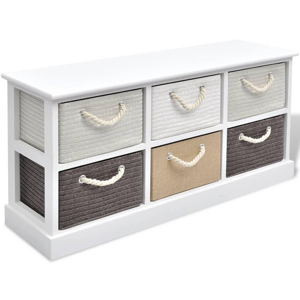 acheter vidaxl banc de rangement 6 tiroirs bois pas cher. Black Bedroom Furniture Sets. Home Design Ideas