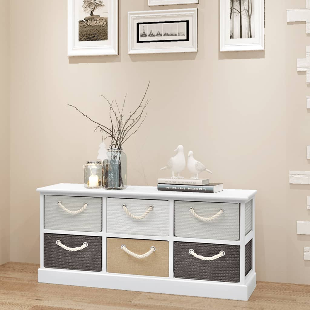 Wooden Storage Bench With 6 Drawers Hallway Drawer Cabinet Living