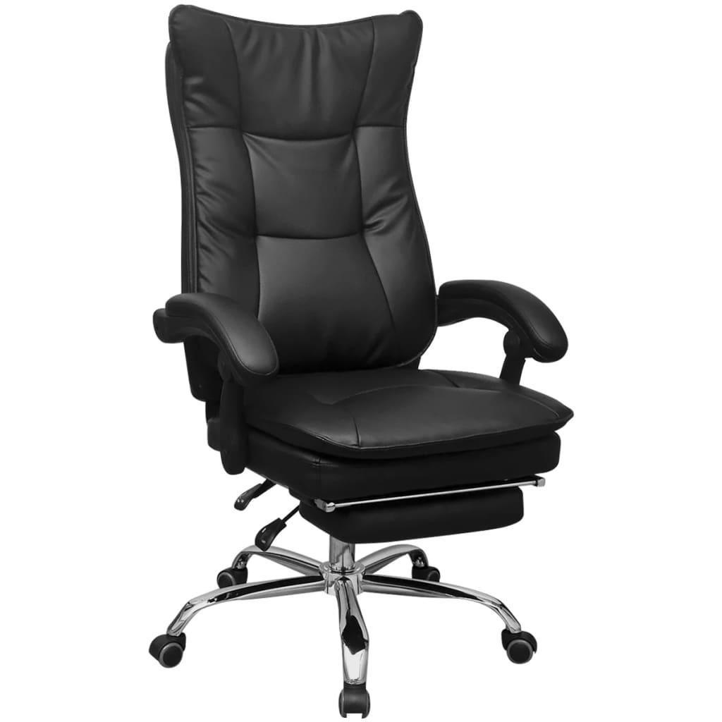 vidaXL dönthető háttámlás vezetői irodai szék lábtartóval fekete