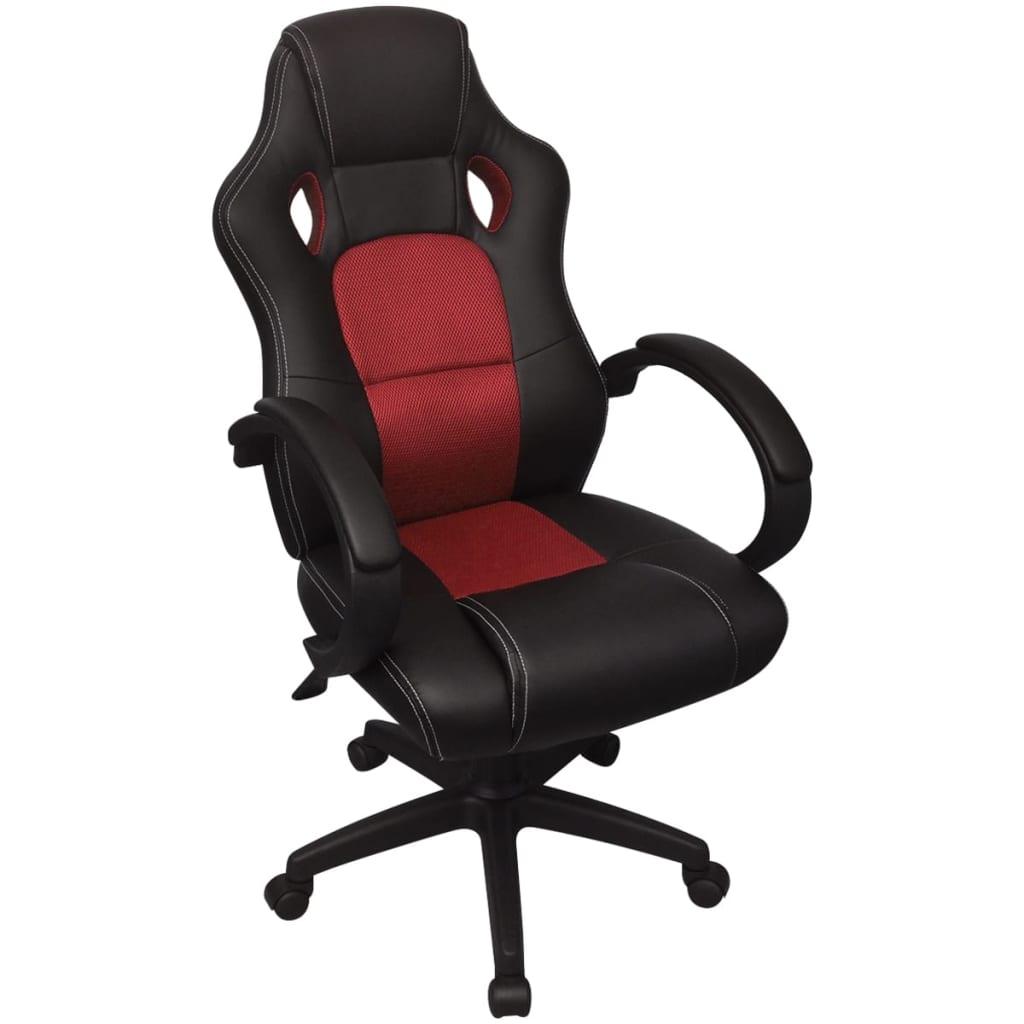 vidaXL vezetői versenyautó műbőr irodai szék piros