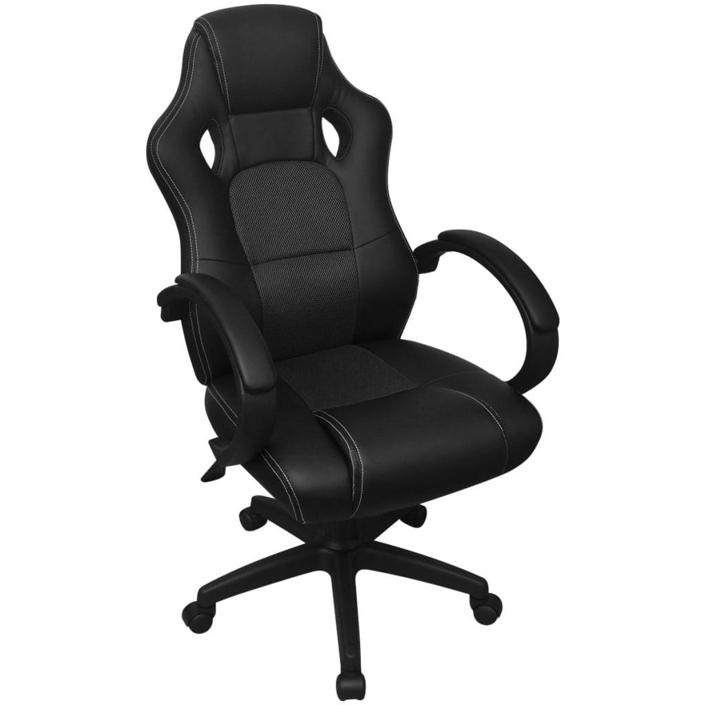 vidaXL Krzesło biurowe w stylu sportowym ze sztucznej skóry czarne
