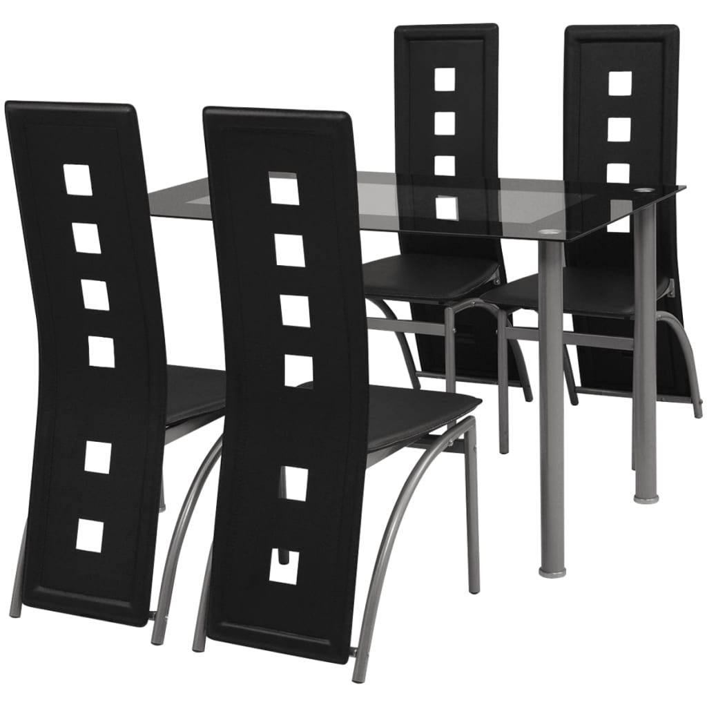 vidaXL 5 darab fekete étkező szett