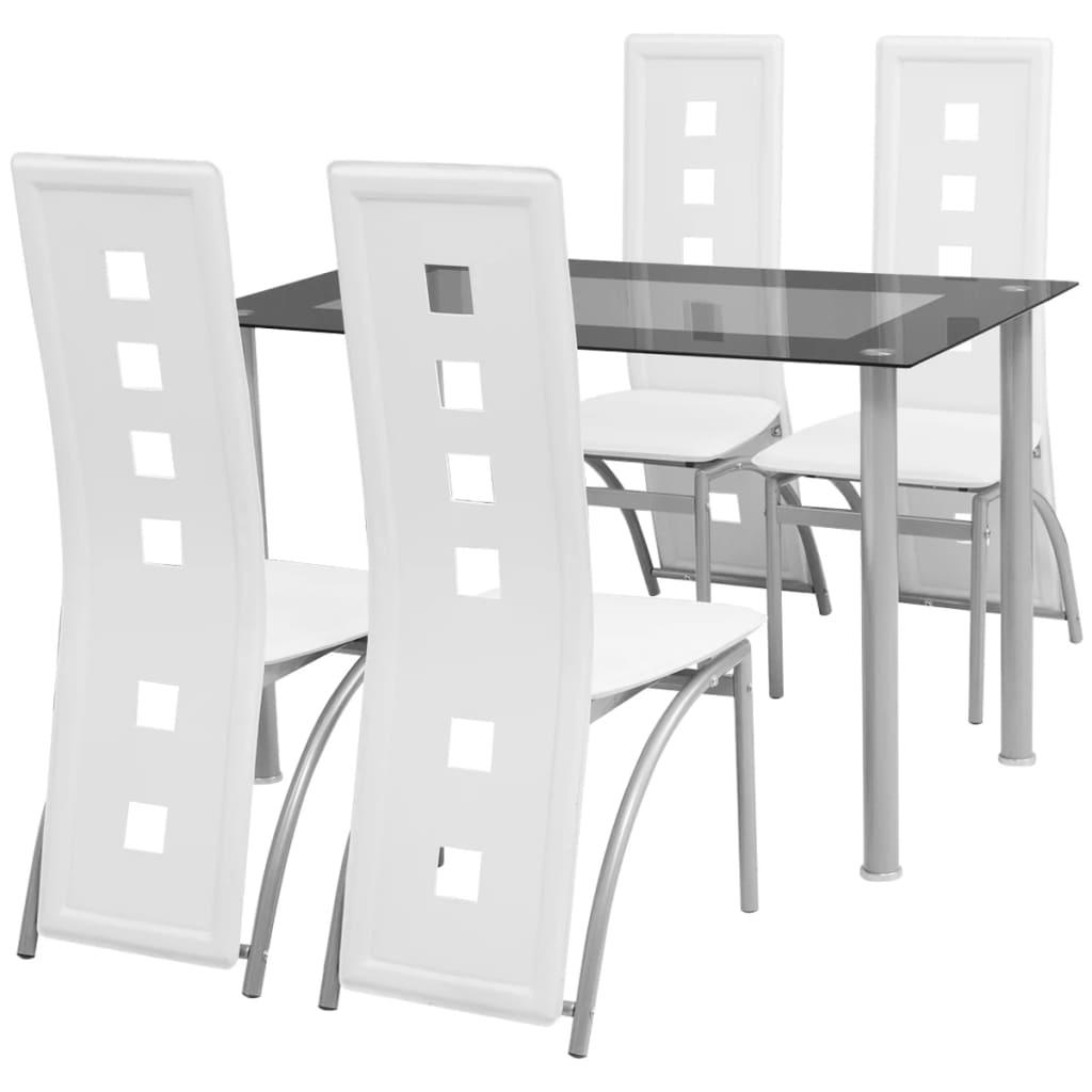 vidaXL 5 darabos fehér étkezőgarnitúra szett