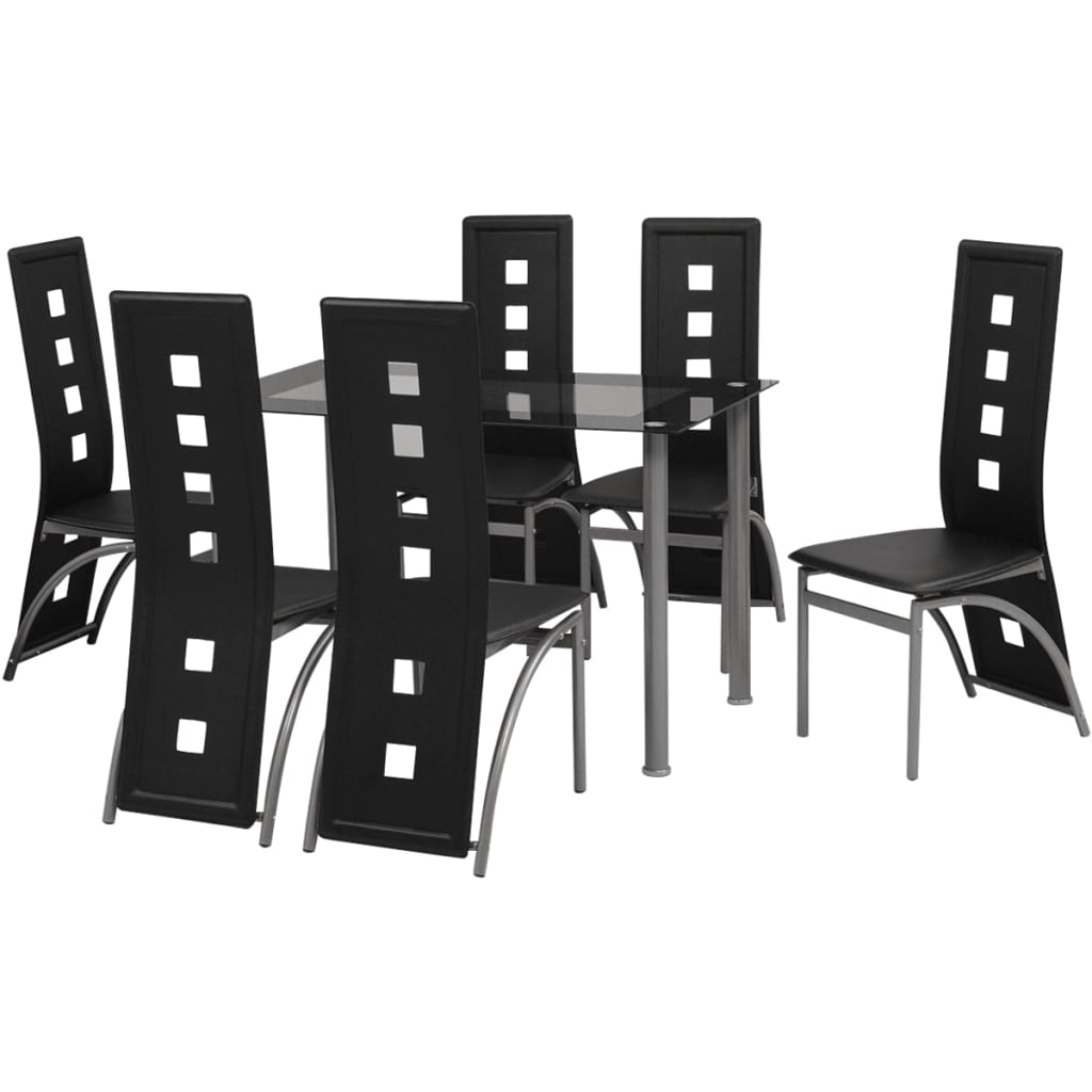 vidaxl matbord och stolar 7 delar svart. Black Bedroom Furniture Sets. Home Design Ideas