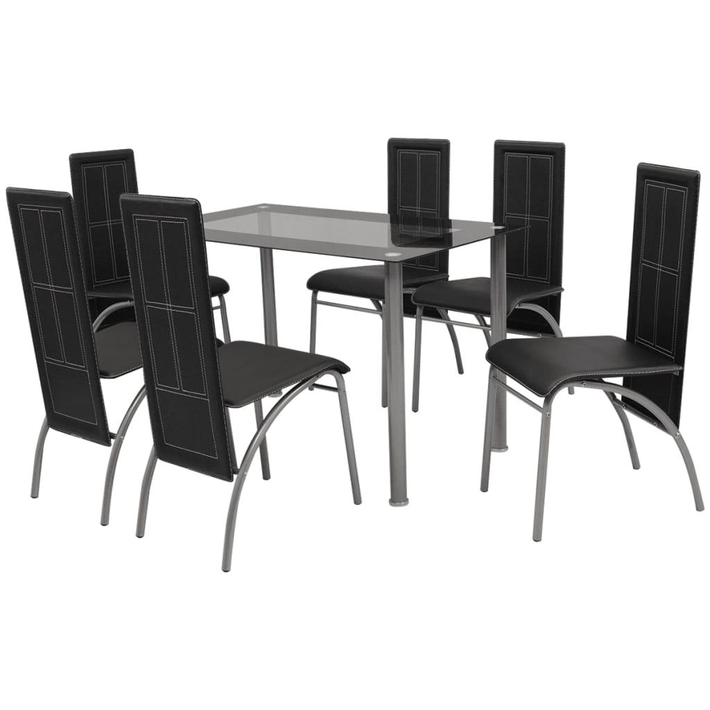 Vidaxl conjunto de comedor 1 mesa y 6 sillones siete for Sillones mesa comedor