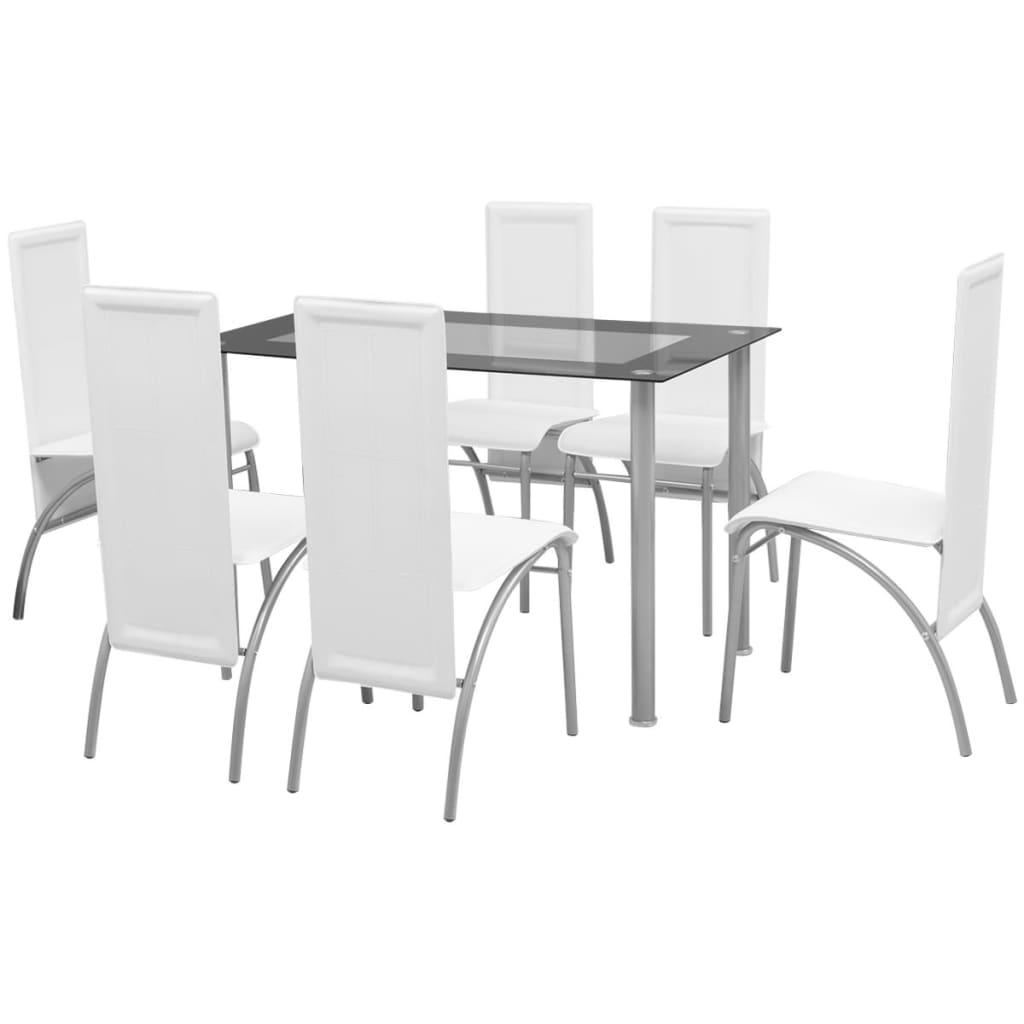 vidaXL 7 darabos étkező szett fehér
