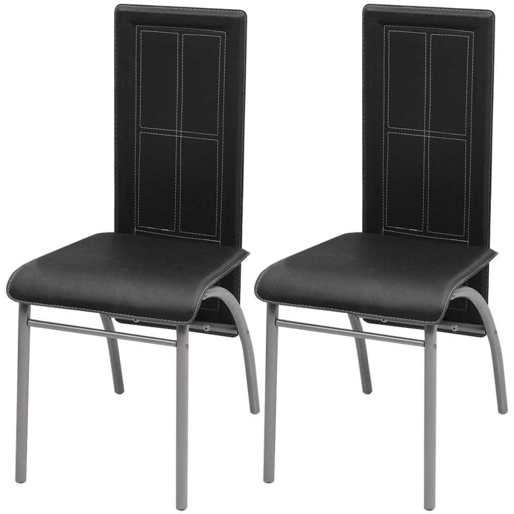 acheter vidaxl chaise de salle manger 2 pcs noir pas cher. Black Bedroom Furniture Sets. Home Design Ideas