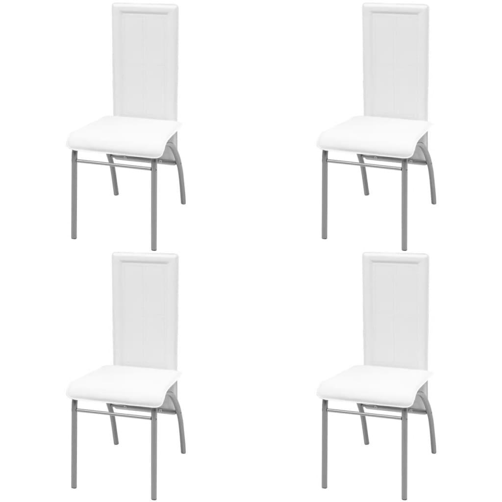 Vidaxl silla de comedor de cuatro piezas de color blanco cuero artificial - Comedor de cuatro sillas ...