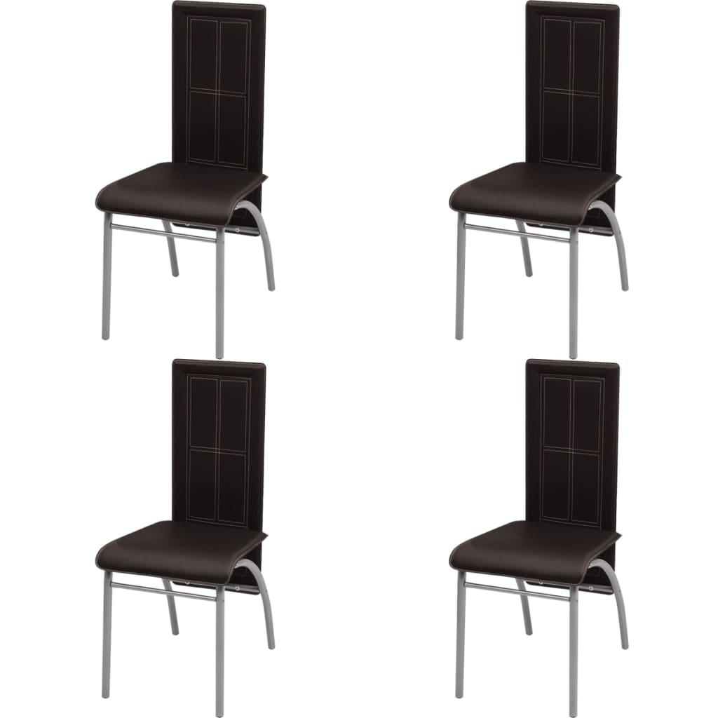 Vidaxl 4 pz sedie per sala da pranzo marroni for Sedie da sala da pranzo